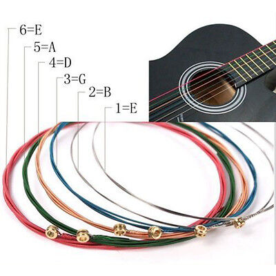 NEW One Set 6pcs Rainbow Colorful Color Strings For Acoustic Guitar Accessory PD