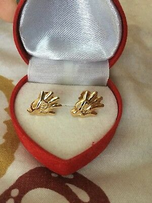 Rare Gorgeous Egyptian Stamped 18K Solid Yellow Gold Girls Earings Khamsa !!WOW