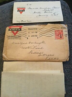 Ww1 Letter Ymca Canadian War Contingent From Granville Canadian Hospital Buxton