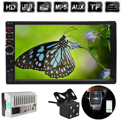7'' Car Radio In-Dash Touch Screen 2 Din Stereo Bluetooth MP5 Player AUX +Camera