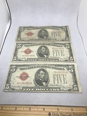 1928 $5 U S Note Red Seal X3