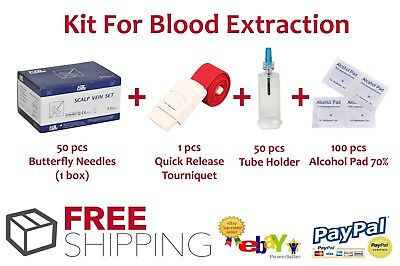 Butterfly Needles + Tube Holder vacutainer + Alcohol Pads + Tourniquet - SALE!!!