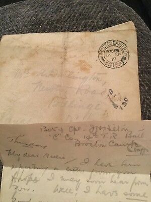 1917 Letter Ww1 From 13054 Hilton At Brocton Camp 14 Tr Batt