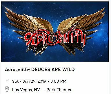 2 Tickets Aerosmith At Park Theater (Mgm - Las Vegas) On 6/29/19
