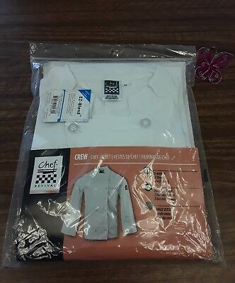 Chief Revival White Crew Chef Jacket Long Sleeve Size XL A43JR