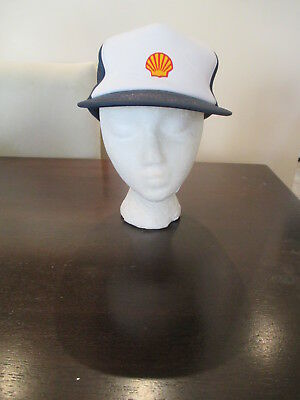 Vintage Shell trucker hat Snapback Mesh Blue White