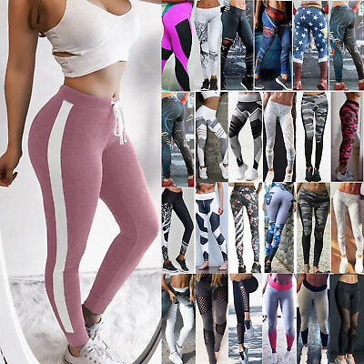 Women Yoga Leggings Pants Fitness Sports Jogging Workout Gym High Waist Trousers