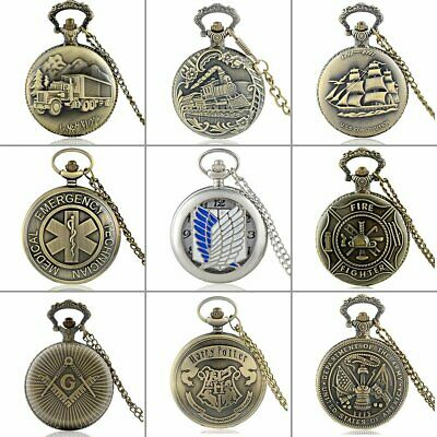 Retro Badge Antique Pocket Watch Pendant Chain Necklace Quartz Movement Classic