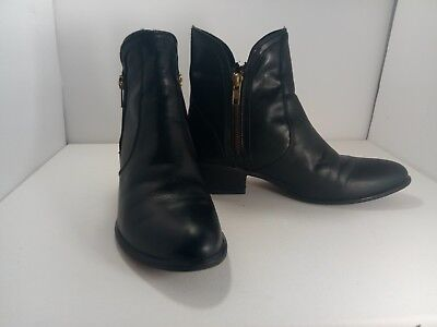 NEW STEVE MADDEN ZIPSTR GREY ANKLE BOOTIES BOOTS WOMENS 6.5 LEATHER FREE SHIP