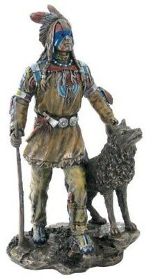 Plains Indian with Wolf Statue Figure Sculpture