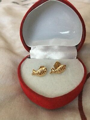 Rare Gorgeous Egyptian Stamped 18K Solid Yellow Gold Baby Girl Earings Fish!WOW