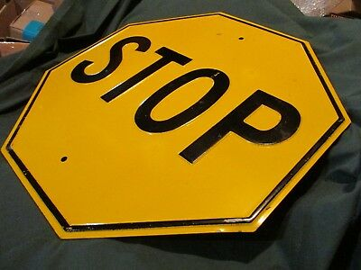 """Antique Stop Sign Embossed Yellow and Black 24"""" X 24"""" NOS"""