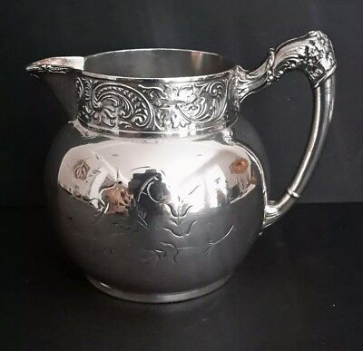 Antique M S BENEDICT Mfg Co Silverplate Ornate Water Pitcher 1890's