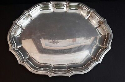 """International Silver Co. Silver Plate Chippendale Scalloped 14.5"""" X 11.5"""" Tray"""