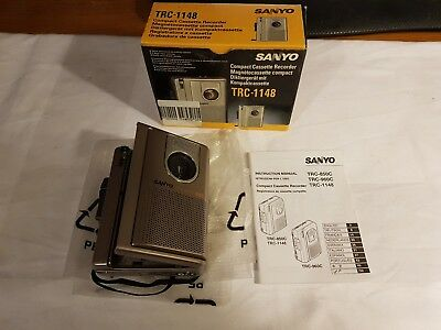 Sanyo TRC-1148 Compact Cassette Recorder + cassette + cleaner