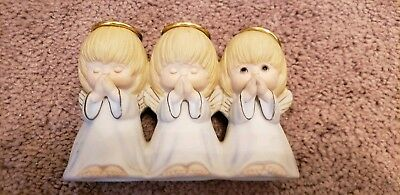 Hallmark Inspired 3 Little Girl Angels Praying Figurine, Porcelain, Hand Painted