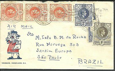 (883) Zwaziland 1950 Air Mail cover to Brazil franked with KG VI def's