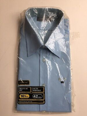 "Vtg 1960s/70s St Michael Blue Single Cuff Unworn Shirt Mod 16.5"" Regular Fit"