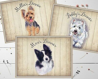 Large Personalised Wipe Clean Laminated Dog Food Place Mat A3 - Choose Dog Breed