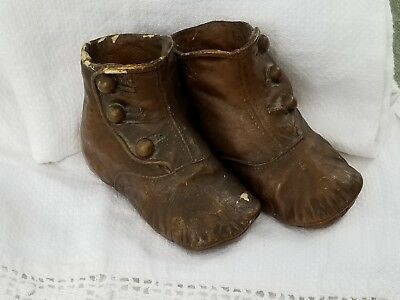 Antique Victorian Pair of Bronze Button-Up Baby Shoes Shoe