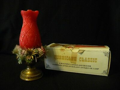Hurricane Classic Red Candle Antique Oil Lamp Base with Plastic Christmas wreath