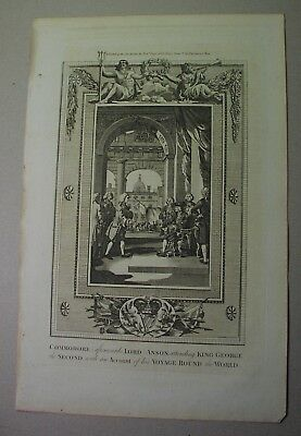 1784 COOKS VOYAGES engraving: EXPLORER ANSON meets KING GEORGE II after voyage