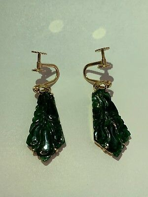Vintage Old Chinese 14K Yellow Gold Carved Green Jade Earrings
