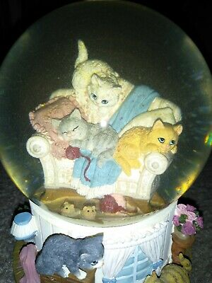 San Francisco Music Box Company Cats On A Couch Snow Globe You & Me Vs TheWorld