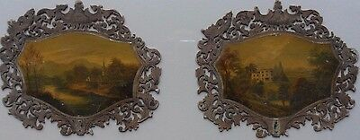 Pair Of Finely Painted Early 19Th Century Face Screens 'park Hatch House Surrey'