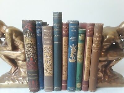 Antique! Lot of Nine Smaller Victorian Decorative Books ~ Assorted Titles NR
