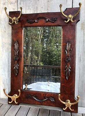 Antique Victorian Tiger Oak Mirror Coat Rack Hall Tree w/ 4 Gilt Hooks c. 1900