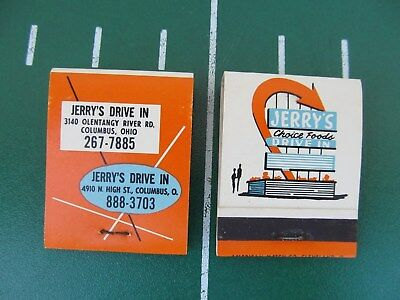 """(2) Match Books Jerry's Drive In Restaurant Columbus Ohio """"New Old Stock"""" Diner"""