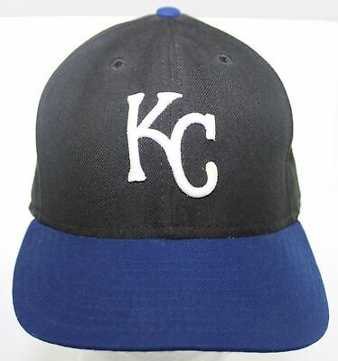 sports shoes f6e6a c1673 Vintage Kansas City Royals New Era 59FIFTY Black   Blue Hat MLB Fitted Cap  7 1