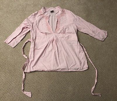 Old Navy Maternity Blouse - size small - pink, tie back, 3/4 length sleeve