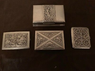 Lot Of 4 Antique Vintage Siam Sterling Silver And 900 Boxes And Cases Beautiful
