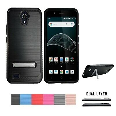 best service 65b93 c6106 PHONE CASE FOR AT&T AXIA, Dual Layer Metallic Brushed Cover Case Kickstand  + TG