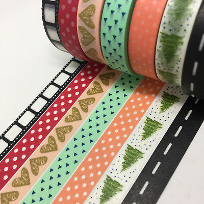 Washi Tape Thin Skinny Mix Set 7 Rolls 10Mm X 10Mtr Roll Plan Craft Scrap Wrap
