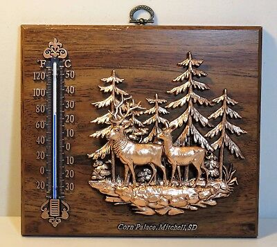 Wall plaque TREES and ELK - 3D copper tone plastic on wood - Souvenir - SD
