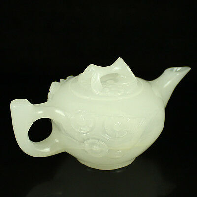 Chinese Natural AFGHANISTAN White Jade Hand-carved Plum Flower Teapot