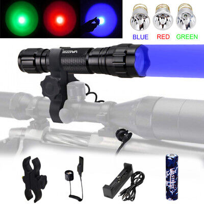Multi-Colorful LED 501B Flashlight Predator Bulb Hunting Torch Rife Gun Mount