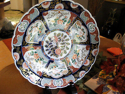 Large Antique 1800's Imari Charger Porcelain Chinese Hand painted Asian 15.5""