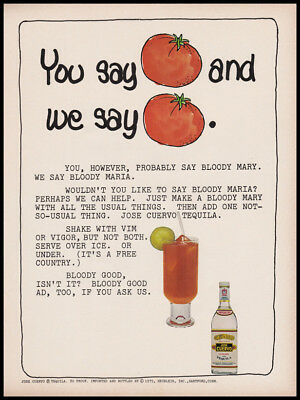 Jose Cuervo Tequila print ad 1976 - tomatoes, Bloody Maria