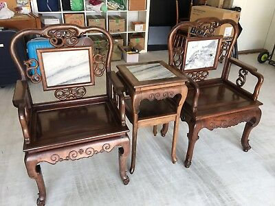 "Chinese Antique Furniture -  Set Of ""Wong Fei Hong"" Chairs With Coffee Table"