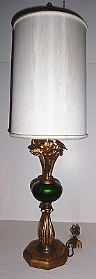 Mid-Century Italian Green Crackle Glass Table Lamp w Gold Leaf Mountings & Shade