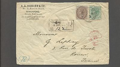 """Singapore – 1898 """"Qv"""" Registered Cover To France"""