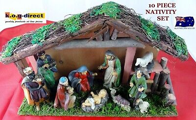 10 Piece Nativity Set Scene With 9 Figures And Wooden Creche Stable New Hw46