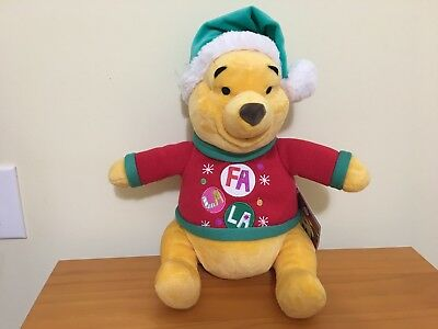 "NWT Disney Store Winnie the Pooh Bear 12"" Plush Toy stuffed Animal Christmas"