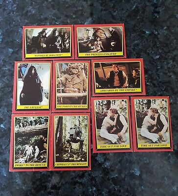 """1983 Topps Star Wars: """"Rerurn of the Jedi"""" Trading Cards x 9 Great Condition"""