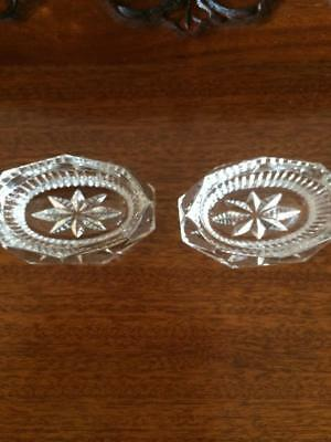 Antique Vintage Crystal Glass Open Salts Dishes For Salt