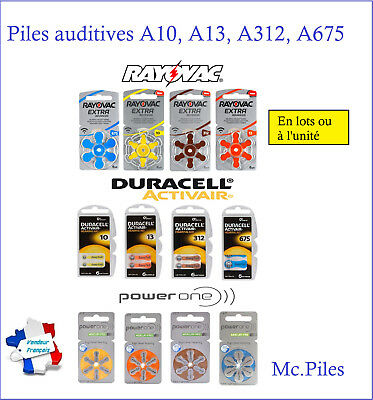 Lot de piles boutons auditives Rayovac, Duracell, Power One A10/A13/A312/A675